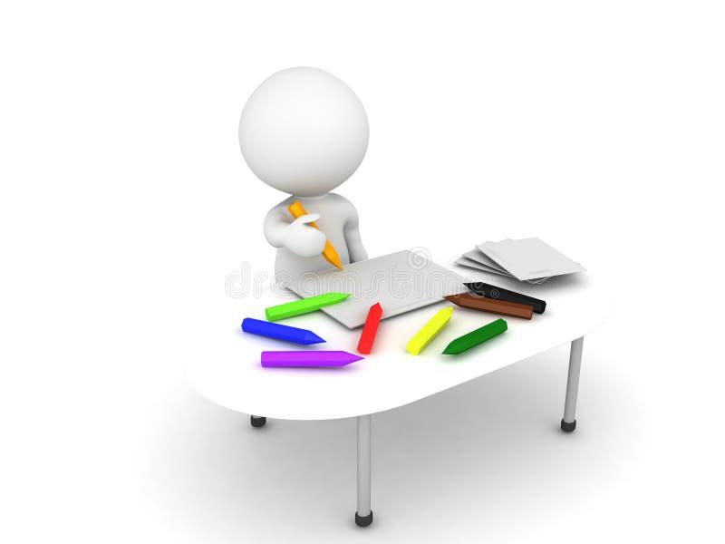 coloritura del bambino del carattere 3D su uno scrittorio sudicio stipato di con il crayo illustrazione vettoriale