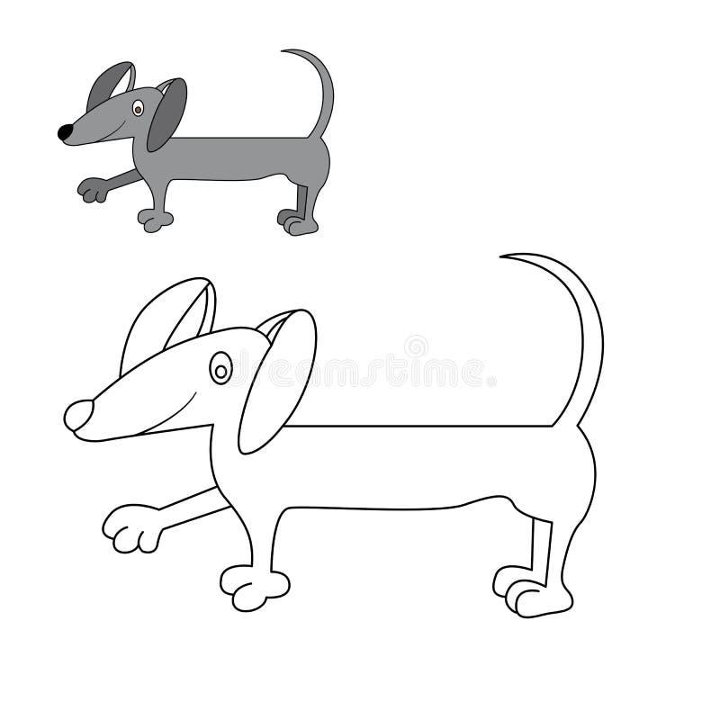 Coloritura del bassotto tedesco del cane royalty illustrazione gratis