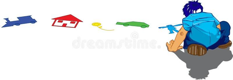 Coloritura del ragazzo sul pavimento illustrazione vettoriale