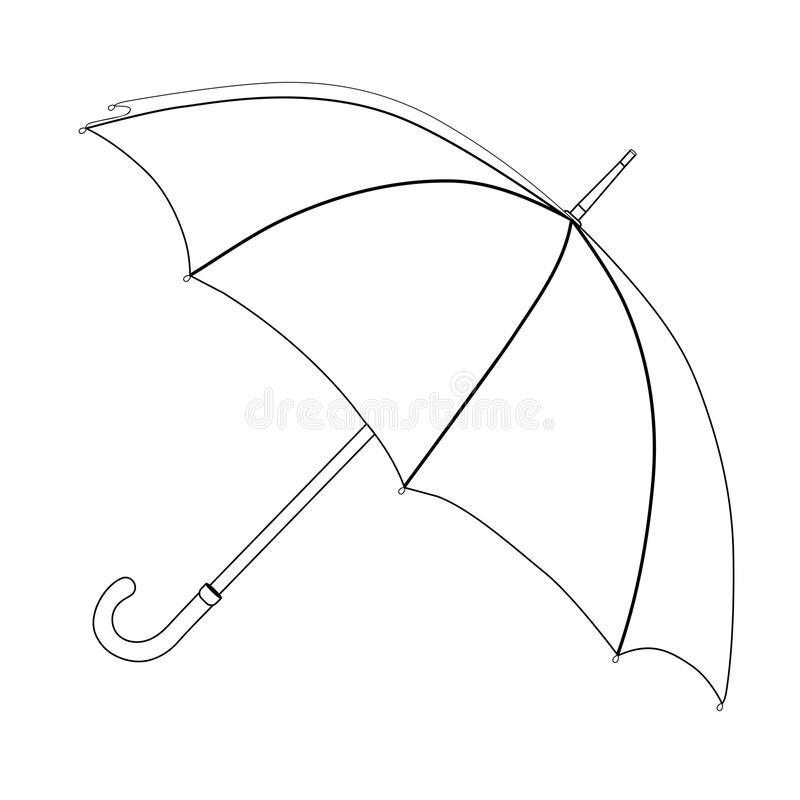 Coloritura dell'ombrello, schizzo di vettore Ombrello aperto in bianco e nero, isolato su fondo bianco illustrazione di stock
