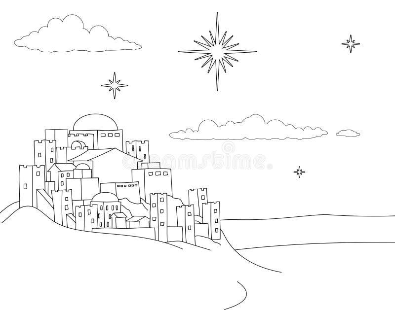 Coloritura di scena del fumetto della città di Natale di natività illustrazione vettoriale