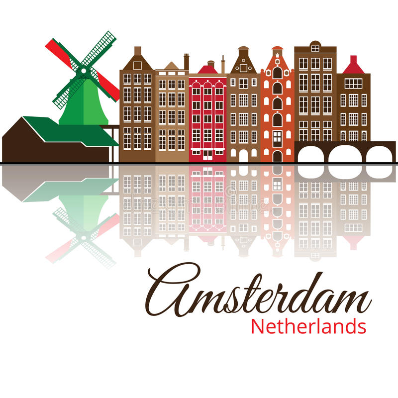 Colorized silhouette of Amsterdam. City skyline. vector illustration