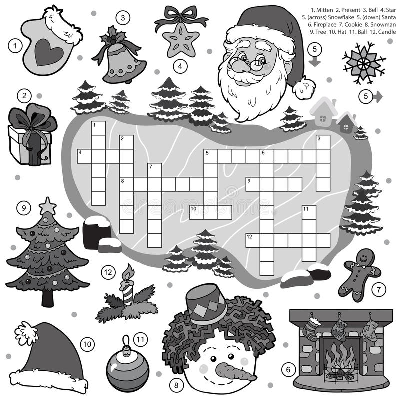 Colorless crossword, education game for children about Christmas. Vector colorless crossword, education game for children about Christmas royalty free illustration