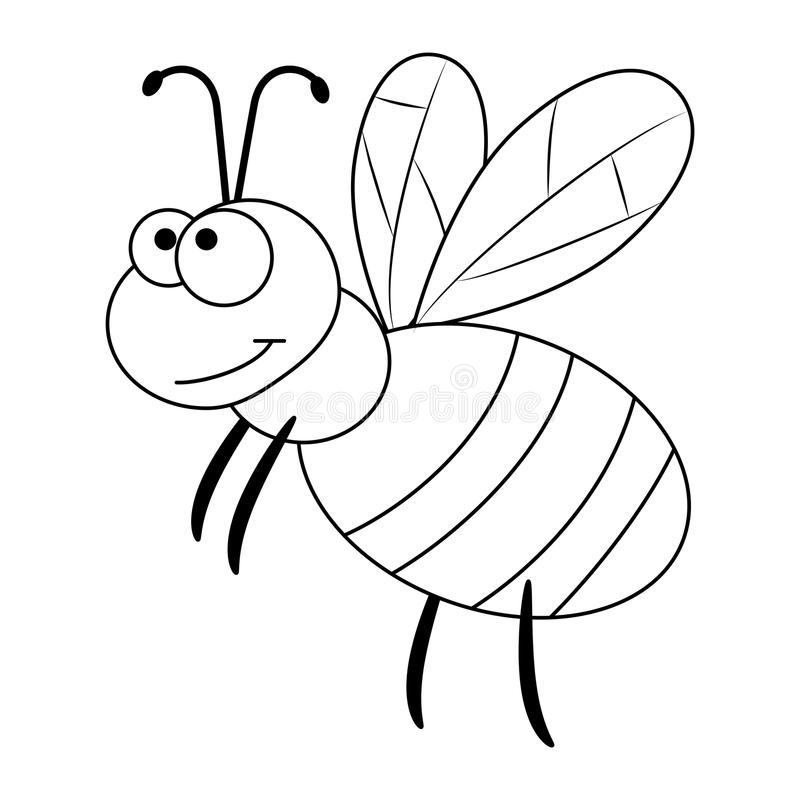 Colorless funny cartoon bee. royalty free illustration