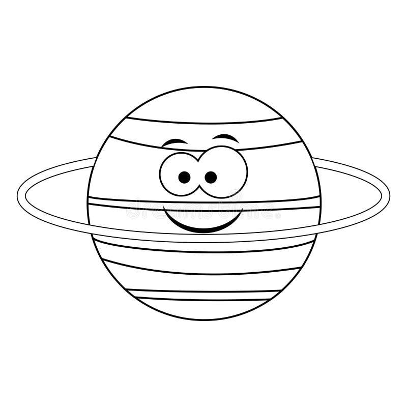 Colorless funny cartoon Uranus planet. Vector illustration. Co. Loring page. Preschool education royalty free illustration