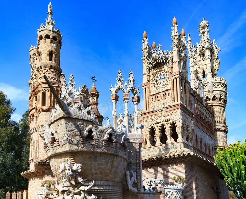 Coloromares城堡在Benalmadena 免版税库存图片