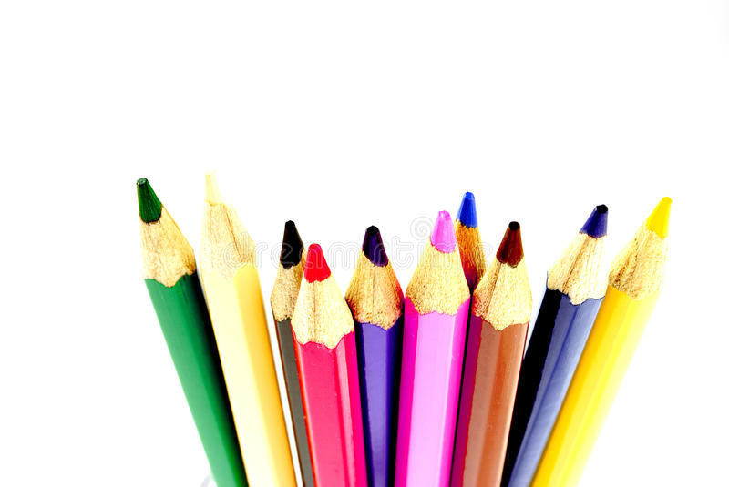 Colors. Pencils with white background stock image