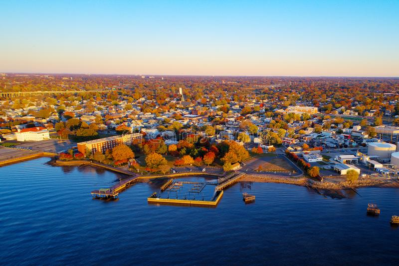 The colors of autumn along the Delaware River. In Gloucester New Jersey royalty free stock image