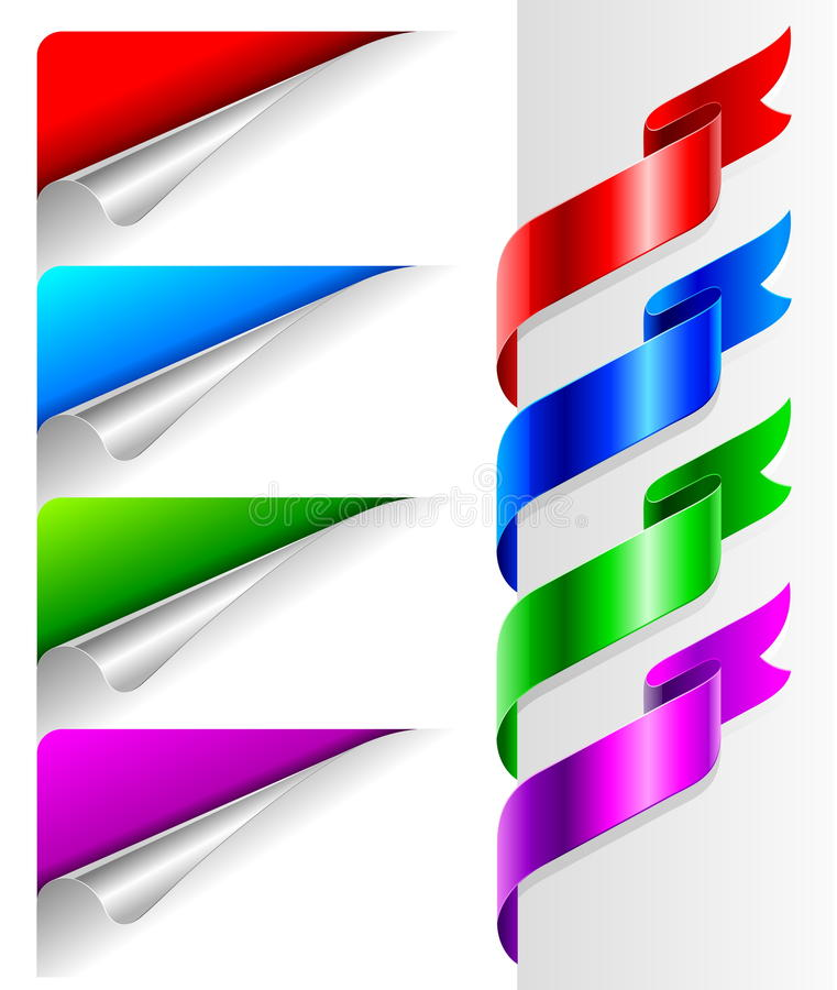 Free Colors Bent Paper Corners And Ribbon Royalty Free Stock Images - 10633509