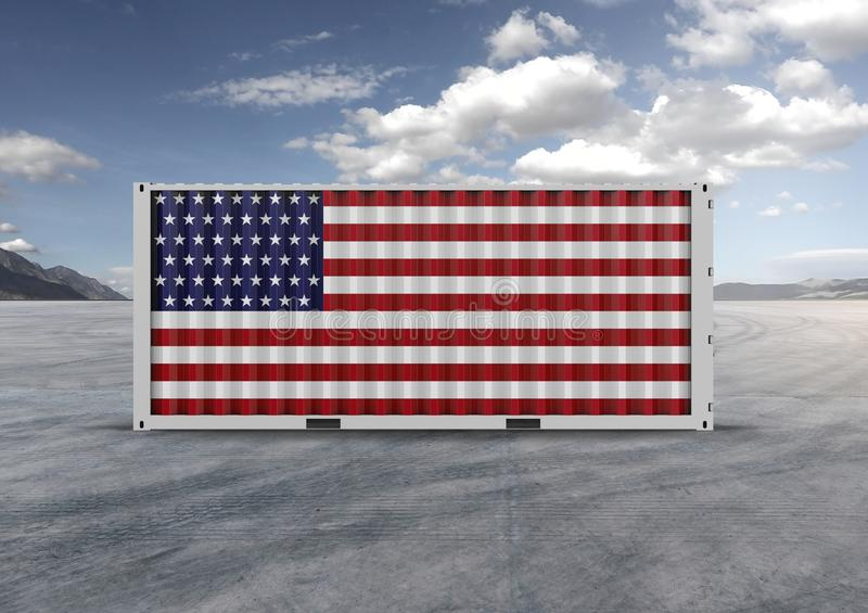 Colors blue, white, red, container. 3D rendering.gray clouds. Container, blue, white and red colors, 3D rendering, globalization, accelerate logistics, reduce stock images