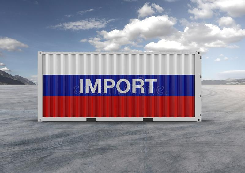 Colors blue, white, red, container. 3D rendering.gray clouds. Container, blue, white and red colors, 3D rendering, globalization, accelerate logistics, reduce stock photography