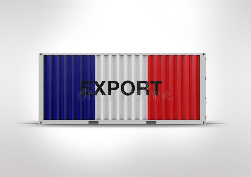 Colors blue, white, red, container. 3D rendering.gray clouds. stock photo