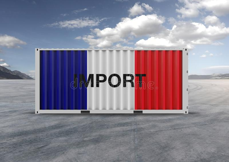 Colors blue, white, red, container. 3D rendering.gray clouds. Container, blue, white and red colors, 3D rendering, globalization, accelerate logistics, reduce stock image