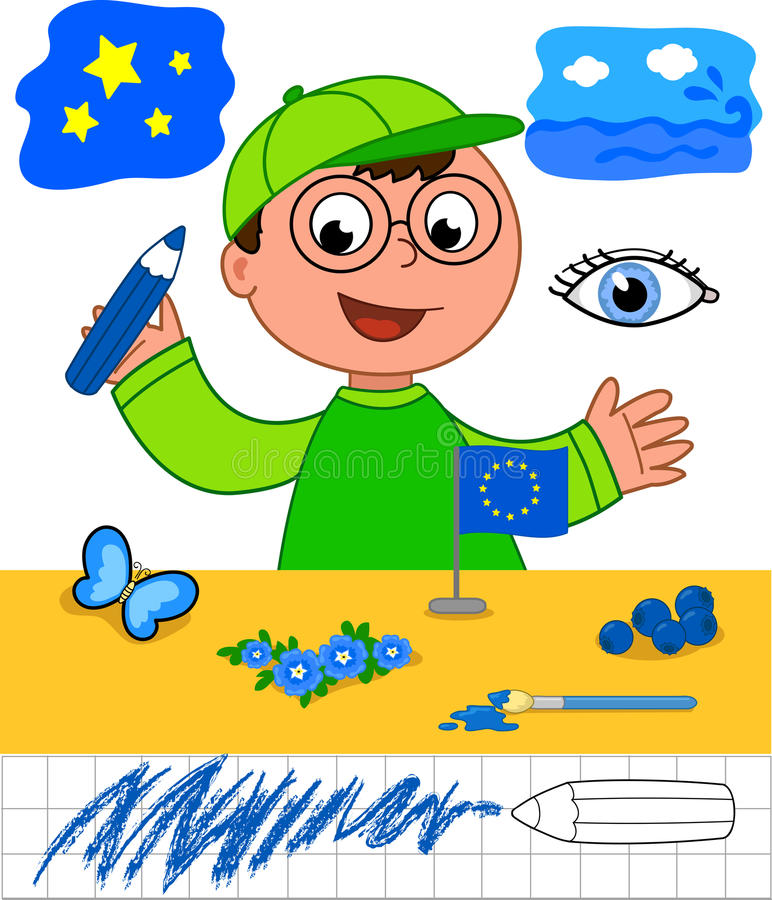 Colors: boy with blue objects