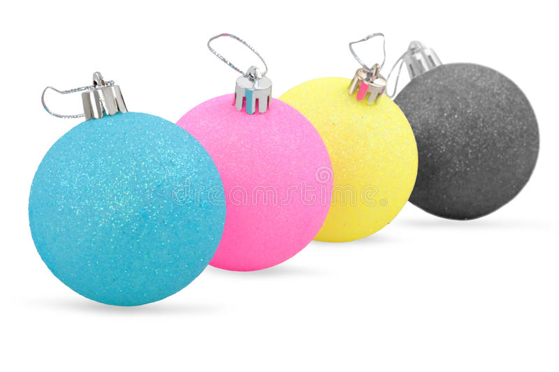Colors christmas decorations. On white background stock image