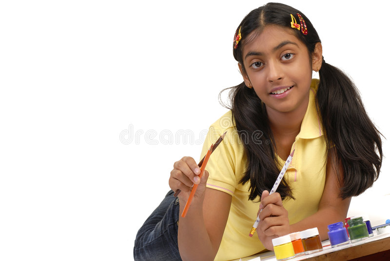 colors den hoding skolan för flickan royaltyfria foton