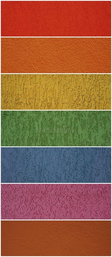 colors den olika texturväggen arkivfoton