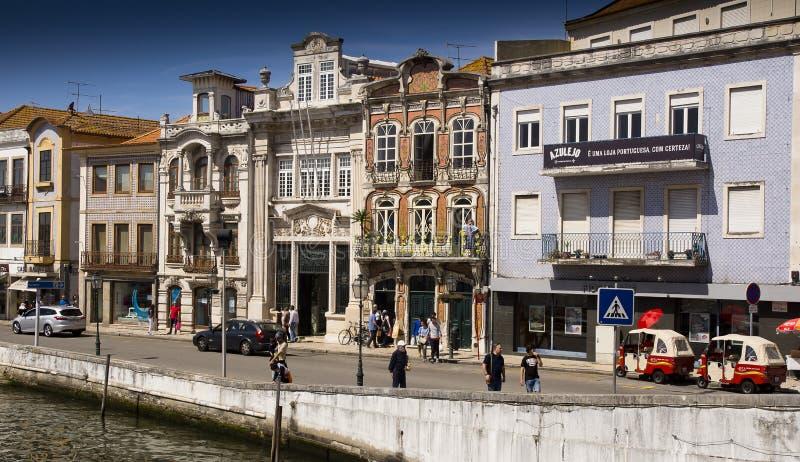 Colors facades Aveiro Portugal royalty free stock photos