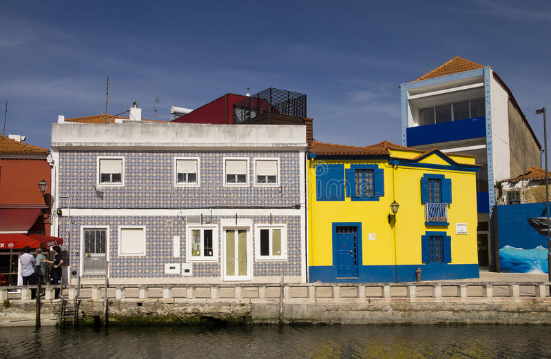 Colors facades Aveiro Portugal royalty free stock photo