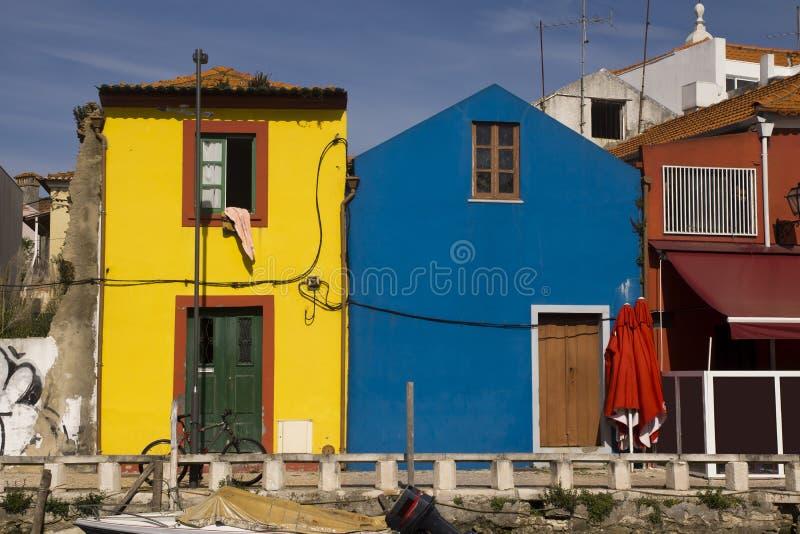 Colors facades Aveiro Portugal stock photos