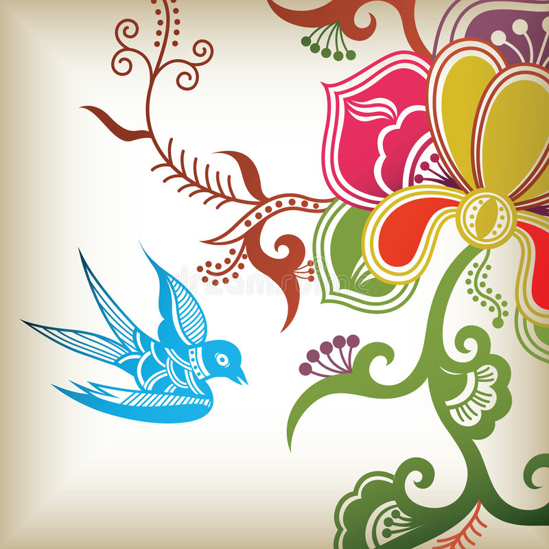 Colors flowers. Illustration of colors flowers and swallow vector illustration