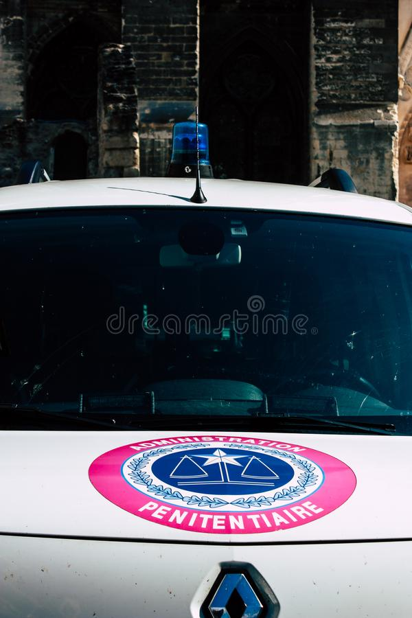 Colors of France. Reims France April 21, 2019 Closeup of a white police car of the penitentiary administration parked front the tribunal of Reims in the stock photos