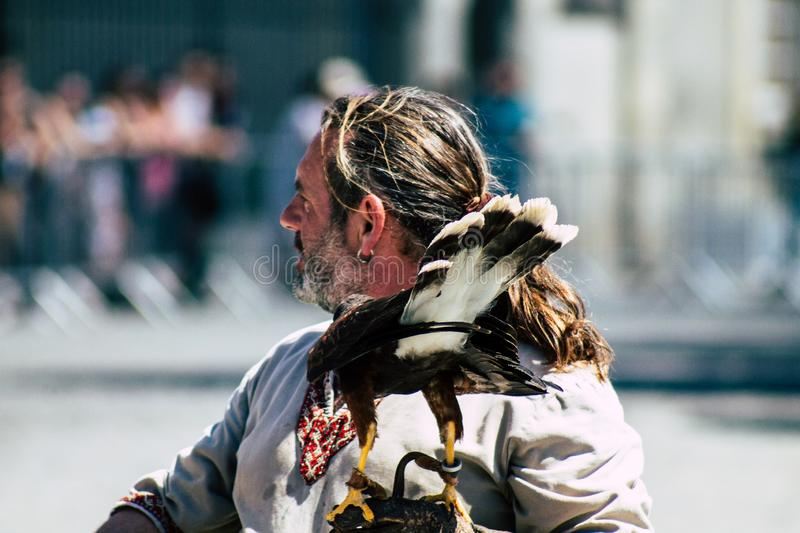 Colors of France. Reims France June 2, 2019 Closeup of a falconer and a raptor participating in a falconry show in the streets of Reims in the afternoon royalty free stock images