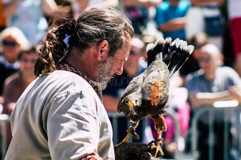 Colors of France. Reims France June 2, 2019 Closeup of a falconer and a raptor participating in a falconry show in the streets of Reims in the afternoon stock photography