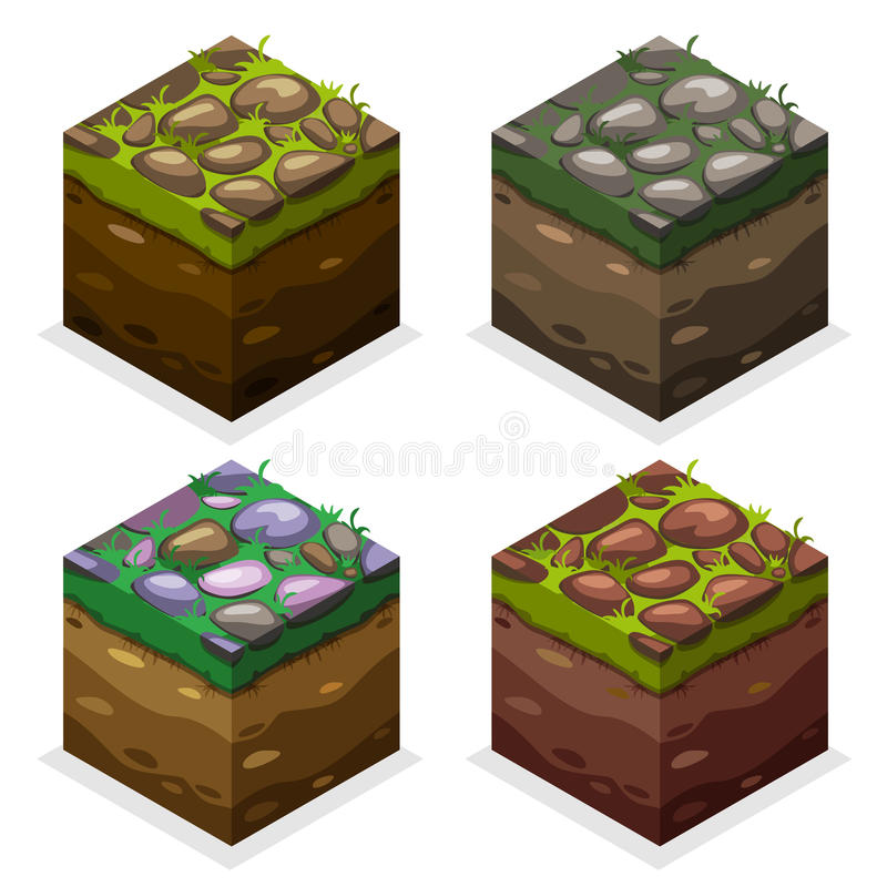 Colors Game block Isometric Cubes, nature unending land and stone on grass stock illustration