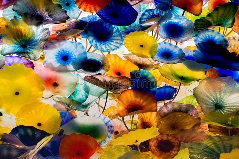 Glass flowers of all different colors on the ceiling of the bellagio stock photography