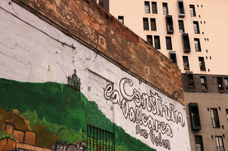 Some murals decorate the facades of a residential district of Barcelona stock image