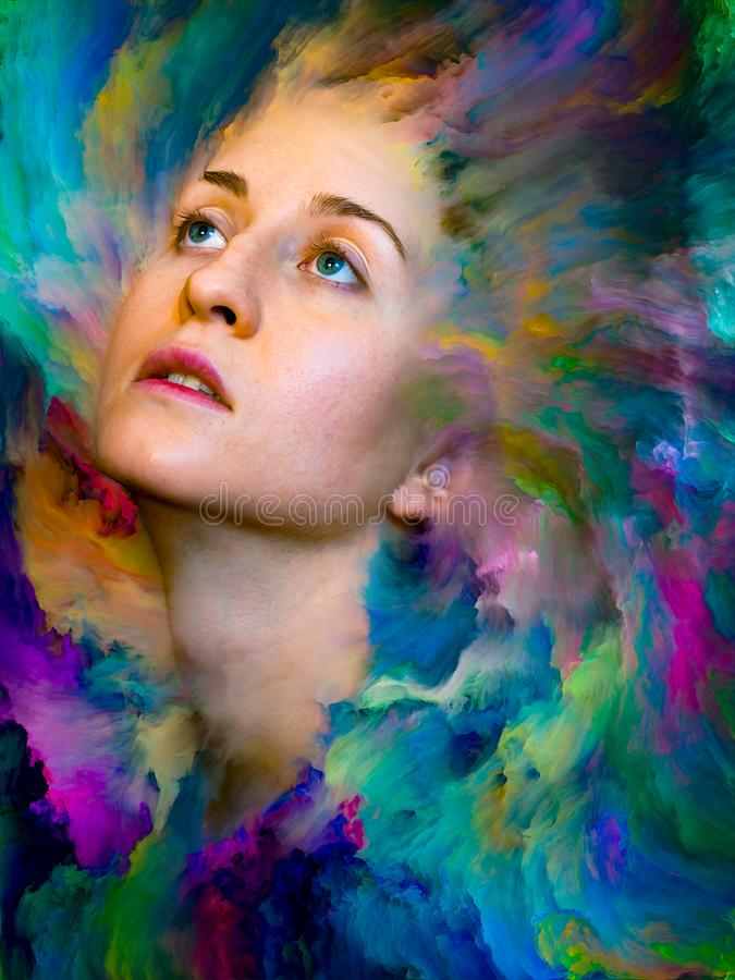 Colors of Her World. Inside Outside series. Interplay of female portrait fused with vibrant paint on the subject of feelings, emotions, inner world, creativity vector illustration