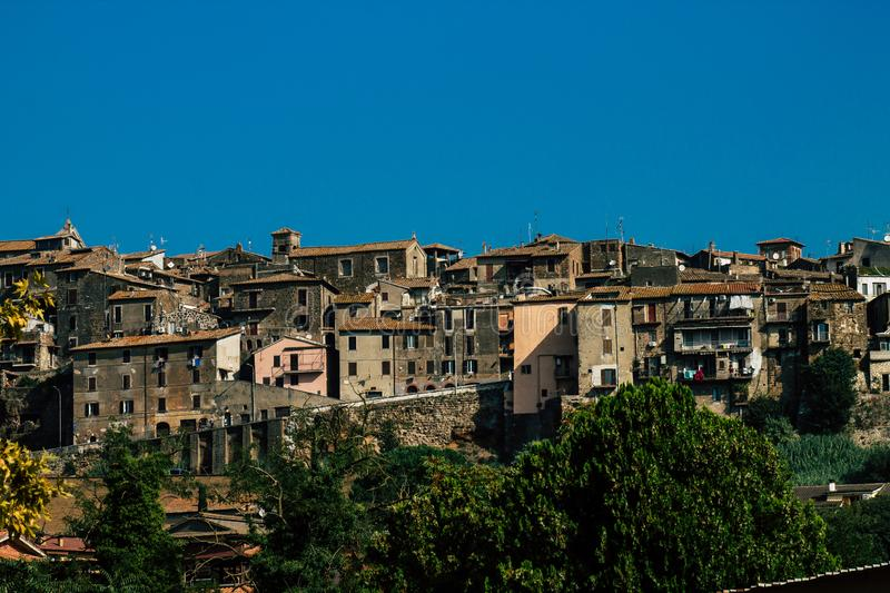 Colors of Italy. Orte Italy September 18, 2019 View of the medieval village of Orte near Rome in the afternoon stock photos