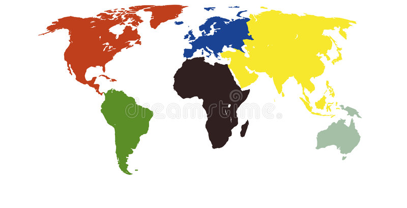 colors kontinentworldmap vektor illustrationer