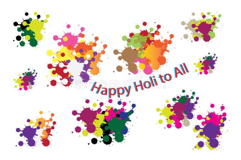 Wishing Happy holi to all royalty free illustration
