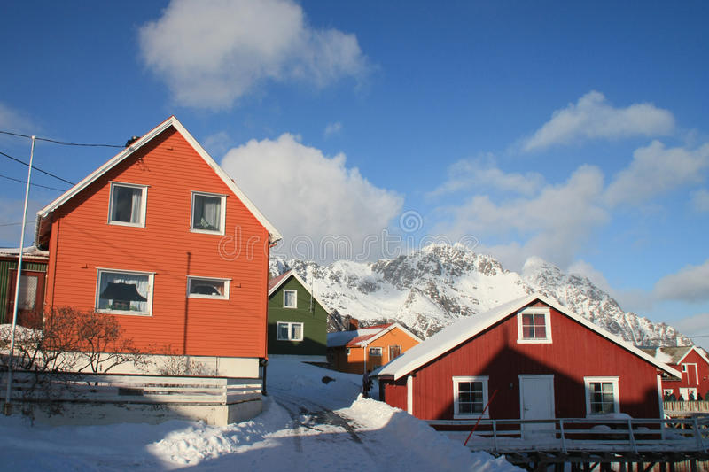 Colors of Lofoten. Traditional colored houses of Henningsvaer in Lofoten royalty free stock photography