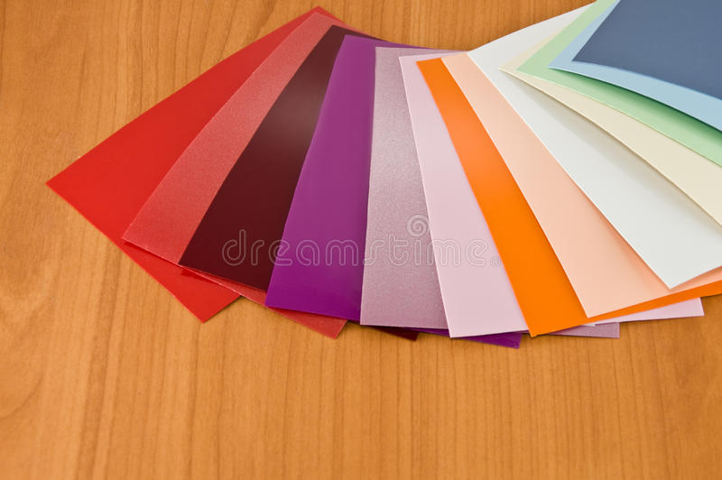 Colors of the material. Choice of material for the color spectrum stock photo