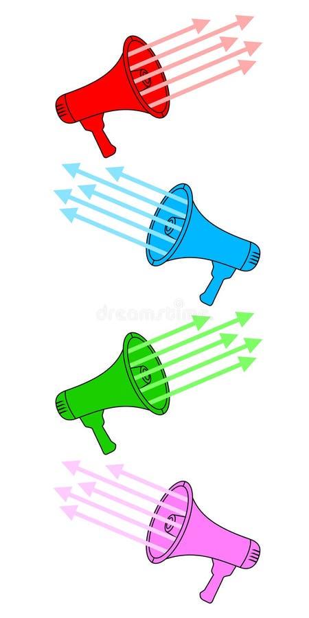 colors megafonen vektor illustrationer