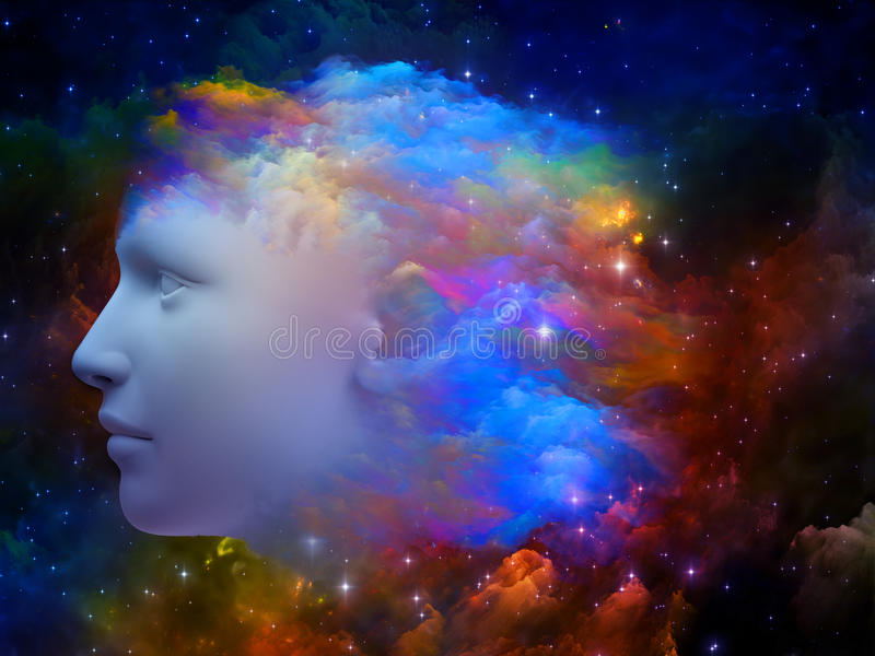 Colors of the Mind. Colorful Mind series. Arrangement of human head and fractal colors on the subject of mind, dreams, thinking, consciousness and imagination royalty free stock images