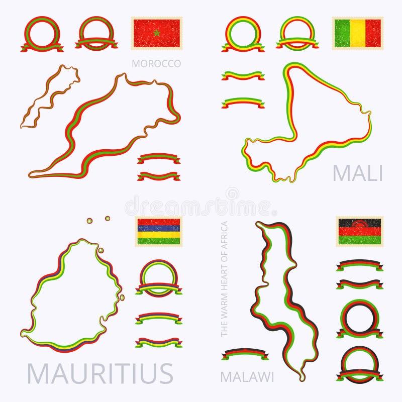 Colors Of Morocco Mali Mauritius And Malawi Stock Vector - Malawi blank map