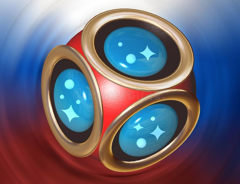 3D rendering soccer ball symbol. Russia 2018 flag background. Football world championship cup. vector illustration