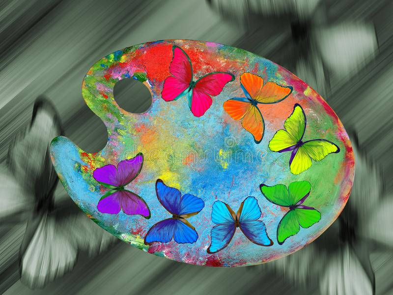 Colors of nature. Colors of rainbow. Palette with colorful paints and morpho butterflies isolated on a white background. Color con royalty free stock image