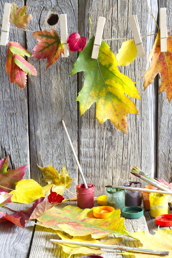 Free Colors Of Autumn Abstract With Paint Brush And Leaves Stock Photography - 44660792