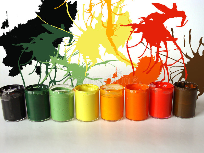 Colors of paints. Different colors of paint buckets royalty free stock photography