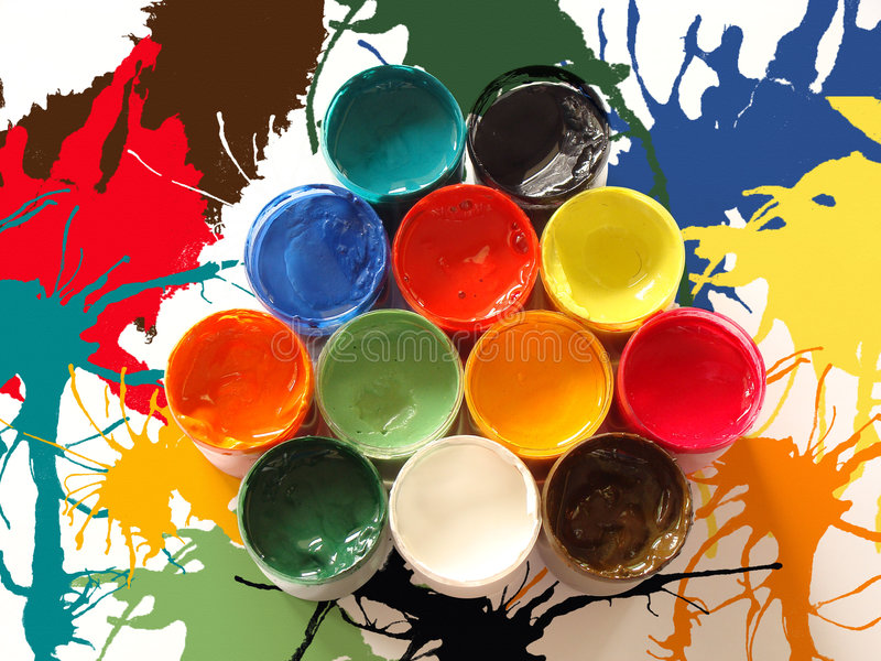 Colors of paints. Different colors of paint buckets stock photo