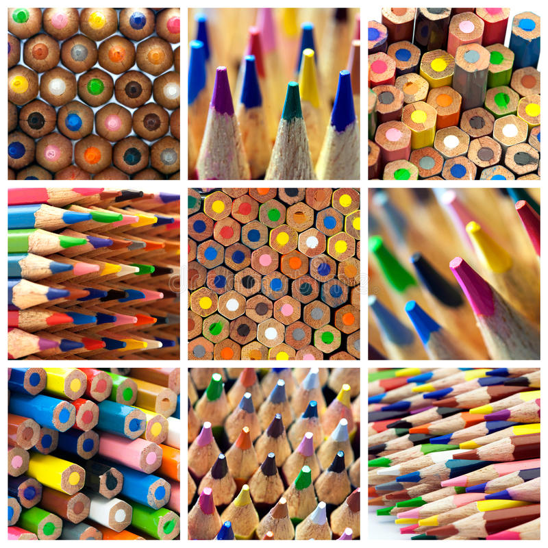 Colors pencils collage stock photo