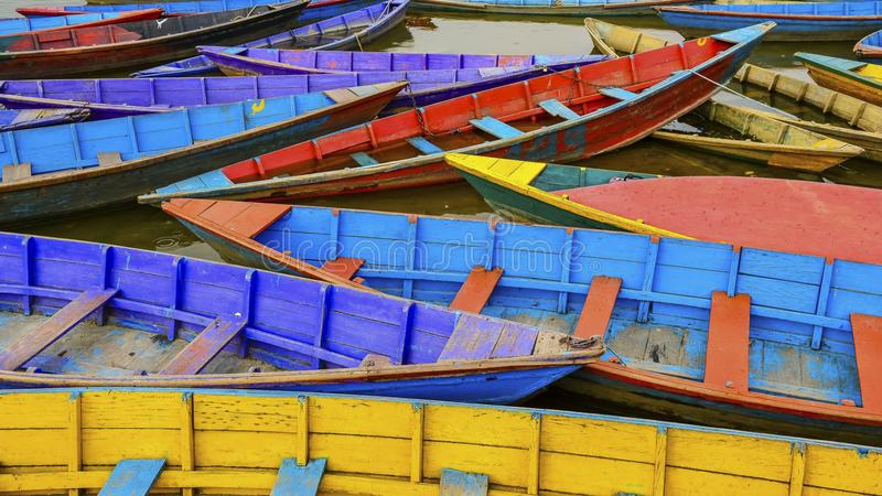 Colors of Pokhara lake stock image