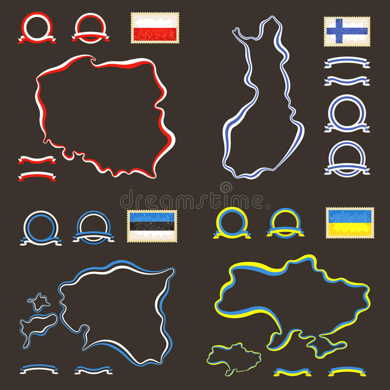 Colors of Poland, Finland, Estonia and Ukraine. Outline map of Poland, Finland, Estonia and Ukraine. Border is marked with a ribbon in the national colors. The royalty free illustration