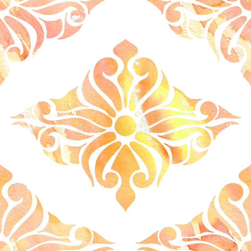 Colors seamless eastern ornament, abstraction watercolor stock illustration