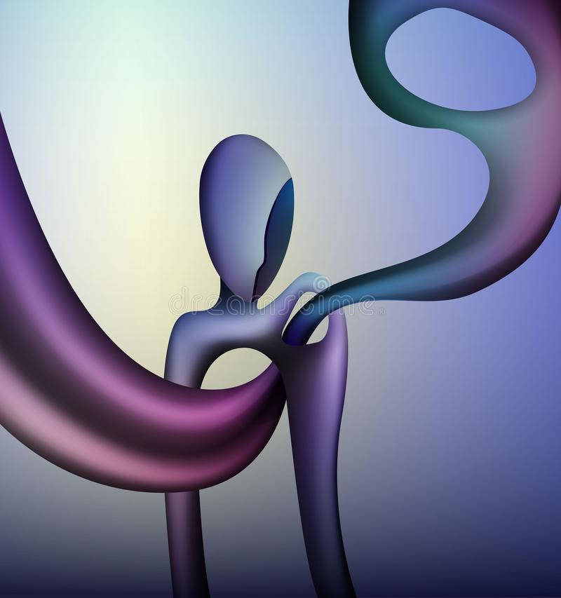 Colors and shape of emotions concept, human feels happiness, abstract man shape with liquid shape inside, surrealism royalty free illustration